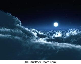 schien, kreis, von, mond, in, dunkelheit, auf, a, hintergrund, von, der, stern, himmelsgewölbe, und, wolkenhimmel