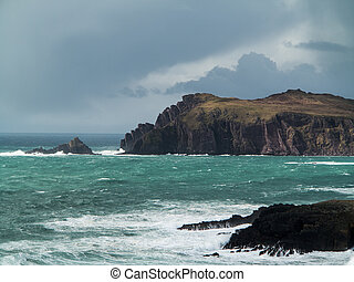 schiereiland, dingle, ierland, bewolkte dag