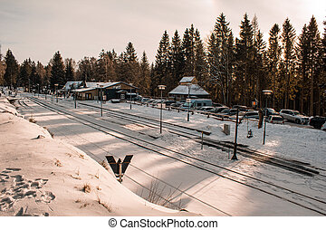 SCHIERKE, SAXONY-ANHALT / GERMANY - JANUARY 19, 2019: famous trainstation in Schierke at Harz Mountains National Park