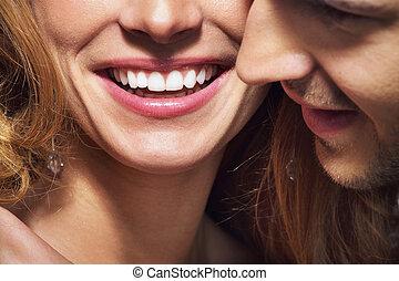 schieten, geweldige teeth, glimlachen, witte , aardig