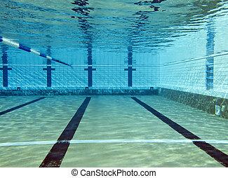 schieten, onderwater, pool, zwemmen