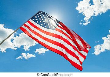 schieten, wolken, usa, -, vlag, buitenshuis