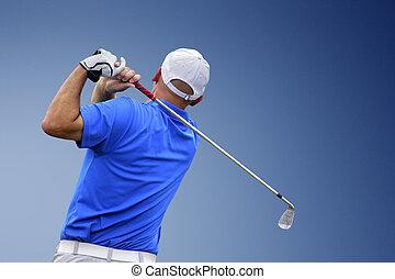 schietende , golfspeler, golf bal