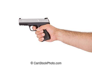 schietende , stijl, met, geweer, van, binnen van, een, arm