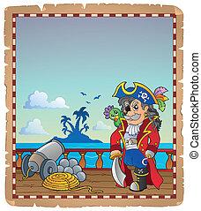 schiff, 2, pergament, pirat, deck