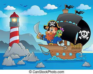 schiff, 2, thema, bild, pirat