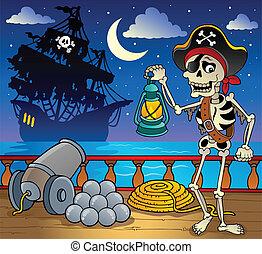 schiff, deck, thema, 7, pirat