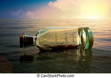 schiff, flasche