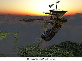 schiff, fliegendes