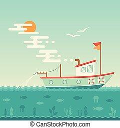 schiff, kommerzielles fischerboot