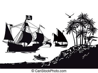 schiff, pirat, tropische