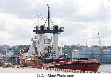 schiff, schwarz, dock, meer