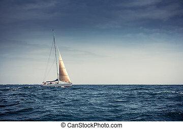 schiff, segel, jachten, segeln, weißes