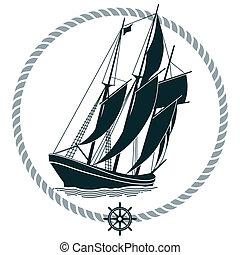 schiff, segeln, zeichen