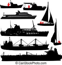 schiff, silhouetten