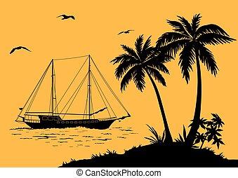 schiff, silhouetten, landschaftsbild, meereshandflächen