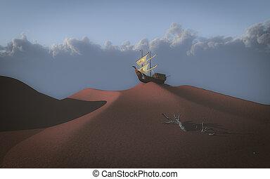 schiff, wüste
