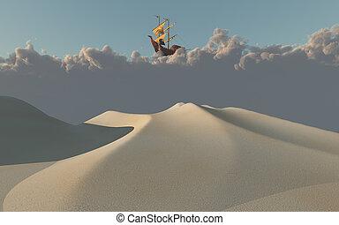 schiff, wolkenhimmel, wüste, oben