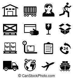 schiffahrt, auslieferung, verteilung, und, lager , web, ikone, satz