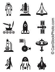 schiffchen, astronaut, plätze, raum