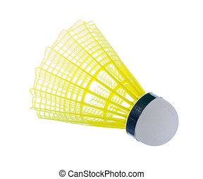 schiffchen, weißes, badminton, freigestellt, bacjground.