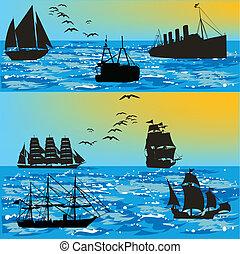 schiffe, an, sea-vector, silhouetten