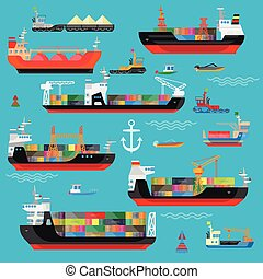 schiffe, boote, ladung, logisitk, transport, und, schiffahrt, ikone