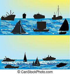schiffe, meer, vektor, silhouetten