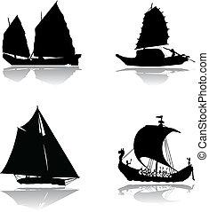 schiffe, mit, segel