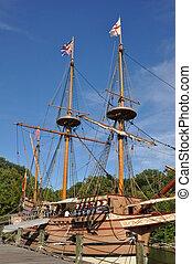 schiffe, virginia, colonial-era, reproduktion, jamestown, vergleich