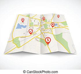 schifffahrt, landkarte, mit, rotes , nadeln