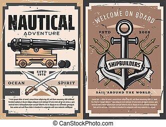 schiffsanker, marine, kanone, meer, schiff
