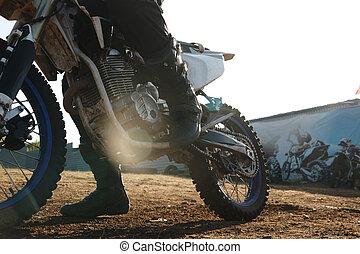 schifting, motorrijder, pedaal