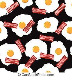 schijfen, model, eitjes, spek, seamless, vector, ontbijt, gebraden
