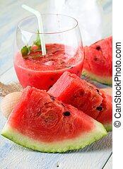 schijfen, smoothie, paar, meloen, fruit, voorkant