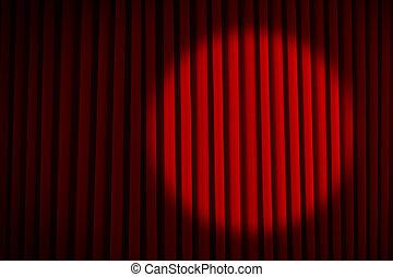 Gordijnen, theater, gesloten, zetels, schijnwerper, rood stockfoto ...