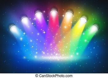 schijnwerpers, met, regenboog kleuren