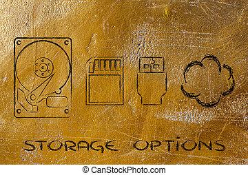 schijven, bestand, solutions:, usb, kaart, hard, opslag, klee, of, wolk, sd
