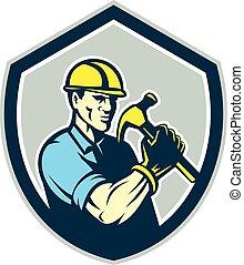 schild, aannemer, timmerman, retro, vasthouden, hamer