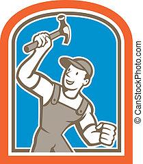 schild, aannemer, timmerman, vasthouden, hamer, spotprent
