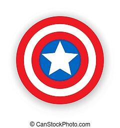 schild, badge., embleem, schild, kleurrijke, star., america., leeg, superhero, kapitein
