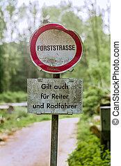 schild, bos, road., verboden, verbod, en, paardrijden