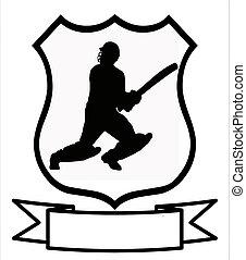 schild, cricket, sportende