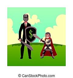 schild, drager, harnas, ridder, zwaard, zakenman, helm