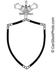 schild, eeuw, vrijstaand, oorlog, handschoenen, zwaard, 16