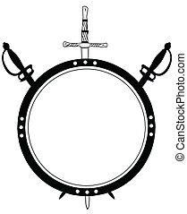 schild, eeuw, zwaarden, vrijstaand, ronde, gekruiste, 16