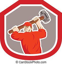 schild, frappant, unie, arbeider, smashhammer, retro