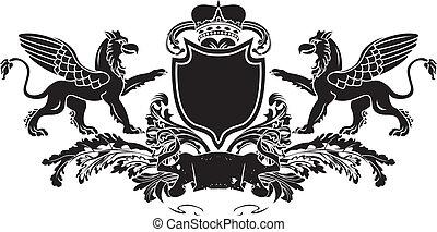 schild, griffin, heraldisch, dubbel