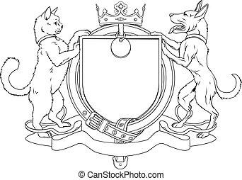 schild, jas, heraldisch, dog, armen, kat, huisdieren
