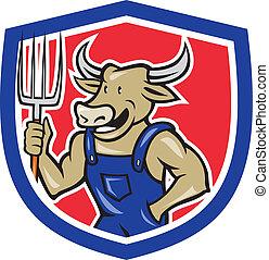 schild, koe, hooivork, vasthouden, farmer, spotprent